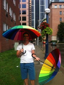 Daniel met me on the way home with an umbrella.