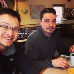 Vaughan and I in need of caffeine.