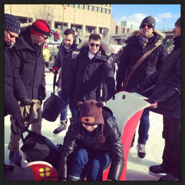 Tim & Vaughan hired a sled. Rideau. 8 Feb 2014.