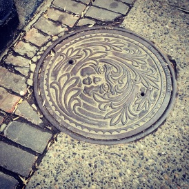 Sewer cap, Downtown Calgary.
