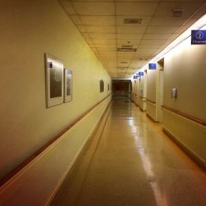Hospital corridors.  The funnest place to be on a Saturday night.