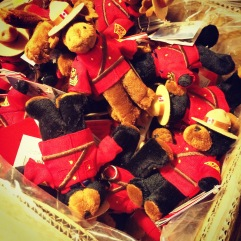Wedding favour preparations: Hangover kits with Canadian animal key rings.
