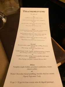 Thanksgiving Day 2014 Menu at Sanctuary T