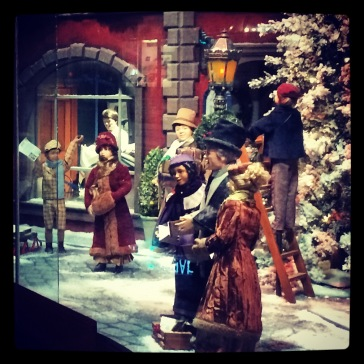 Hudson's Bay have Christmas window displays.