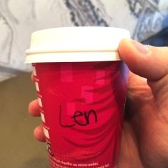 My new Starbucks name: Len.