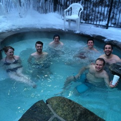 Hot tub warmth when it's below zero.