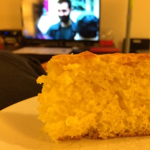 Cake + Looking + Couch = Friday night perfection.