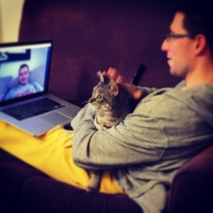 Skyping Julian. Smudge is talking to us again.