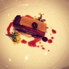 Pork cheek, swede and wattle seed, Sancho berry.