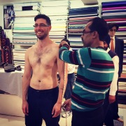 Getting measured for a tailored suit. Jaipur, India.