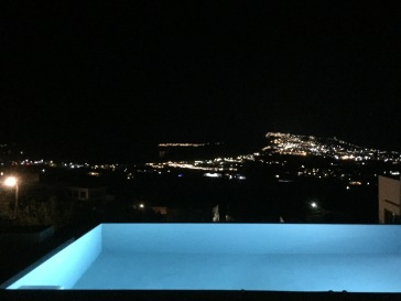 Night time view of Oia and Fira, @ My Santorini Villa.